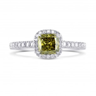 Fancy Dark Gray-Greenish Yellow Cushion Diamond Halo Ring, SKU 228928 (0.93Ct TW)