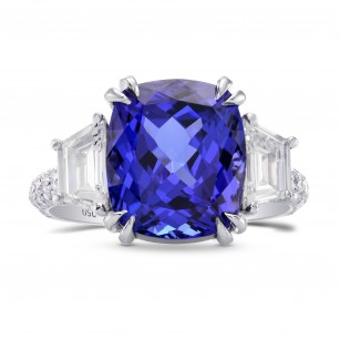 Tanzanite Cushion & Trapezoid Diamond Ring, SKU 229186 (7.80Ct TW)