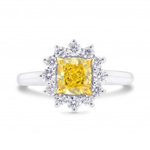 Fancy Intense Yellow Cushion Diamond Prong Halo Ring, SKU 26381R (1.40Ct TW)