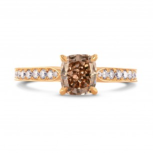 Fancy Brown Cushion & Pave Diamond Ring, SKU 230355 (1.60Ct TW)