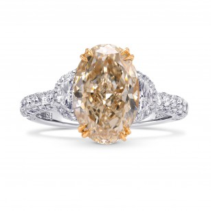 Very Light Brown Oval Diamond Ring, SKU 238013 (4.01Ct TW)