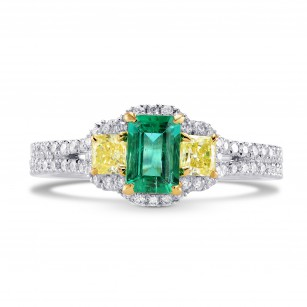 Green Emerald and Fancy Yellow Diamond 3 Stones Ring, SKU 242443 (1.21Ct TW)