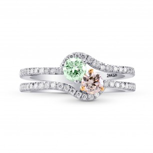 Argyle Pink & Green Diamond Two Stone Crossover Ring, SKU 244328 (0.82Ct TW)