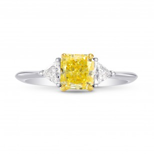Platinum Fancy Yellow Radiant & Triangle Diamond Ring, SKU 245233 (1.27Ct TW)