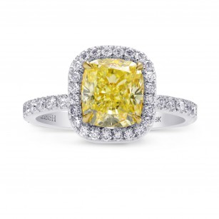 Fancy Yellow Cushion Diamond Halo Ring, SKU 246192 (2.71Ct TW)