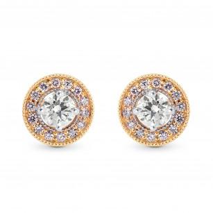 White and Pink Diamond Halo Earstuds, SKU 246216 (0.35Ct TW)