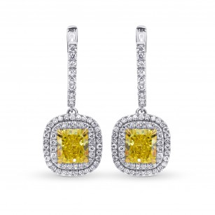 Fancy Intense Yellow Halo Drop Earrings, SKU 246641 (2.14Ct TW)