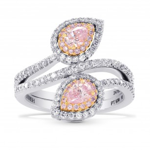 Argyle Twin Pink Pear Diamond Halo Ring, SKU 247832 (1.04Ct TW)