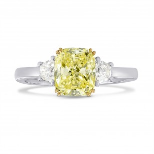 Fancy Light Yellow Cushion Diamond 3 Stones Ring, SKU 248067 (2.40Ct TW)