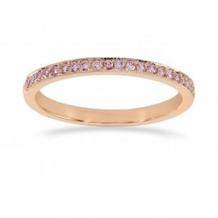 Rose Gold Fancy Light Pink Diamond Half-Eternity Milgrain Wedding Band Ring, SKU 24936R (0.25Ct TW)