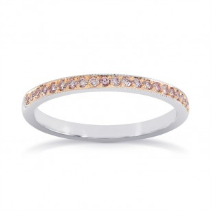 White & Rose Gold Fancy Light Pink Diamond Milgrain Band Ring, SKU 24938R (0.20Ct TW)