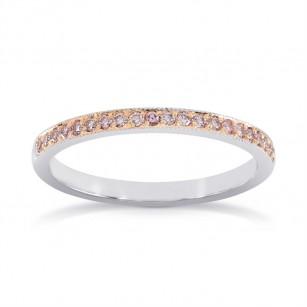 White & Rose Gold Fancy Light Pink Diamond Milgrain Band Ring, SKU 24938R (0.20Ct TW)