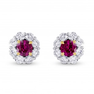 Ruby & Diamond Floral Halo Earrings, SKU 249442 (1.67Ct TW)