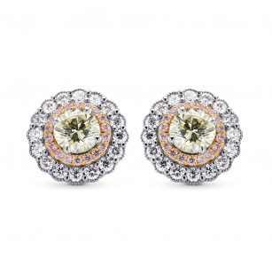 Light Yellow Green Round Brillant Halo Earrings, SKU 249459 (2.30Ct TW)