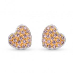 Fancy Pink Diamond Pave Heart Earrings, SKU 249708 (0.15Ct TW)