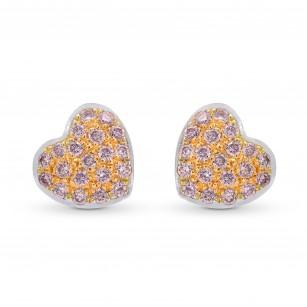 Fancy Pink Diamond Pave Heart Earrings, SKU 249709 (0.14Ct TW)