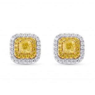 Fancy Yellow Cushion Double Halo Earrings, SKU 249853 (1.03Ct TW)