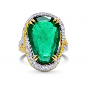 Emerald Antique Cut Pear & Yellow Diamond Designer Ring, SKU 250481 (9.72Ct TW)