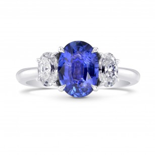 Oval (Unheated) Sapphire & Diamond 3 Stone Ring, SKU 251030 (2.12Ct TW)