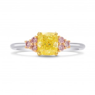 Fancy Yellow Cushion & Pink Diamond Engagement Ring, SKU 251410 (1.17Ct TW)