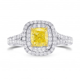 Fancy Intense Yellow Cushion Diamond Double Halo Ring, SKU 251422 (1.56Ct TW)