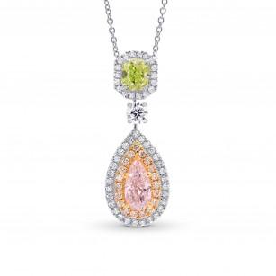 Pink Pear & Green Radiant Diamond Drop Pendant, SKU 251839 (1.70Ct TW)