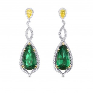 Green Emerald & Canary Yellow Diamond Earrings, SKU 254168 (17.91Ct TW)