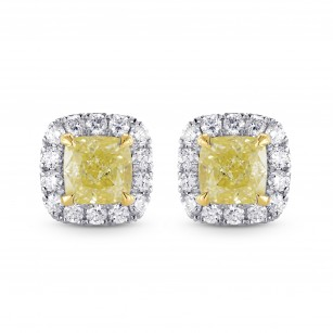 Fancy Yellow Cushion Diamond Halo Earrings, SKU 25501R (1.20Ct TW)
