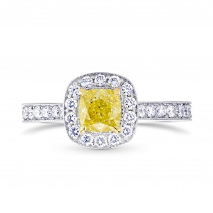 Fancy Intense Yellow Cushion Diamond Milgrain Halo Ring, SKU 25503R (1.20Ct TW)