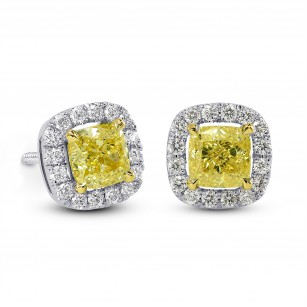 Fancy Intense Yellow Cushion Diamond Halo Earrings, SKU 25505R (1.19Ct TW)