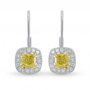 Fancy Intense Yellow Cushion Diamond Drop Halo Earrings, SKU 25506R (1.60Ct TW)