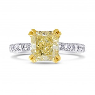 Platinum Fancy Yellow Radiant Diamond and Pave Solitaire Ring, SKU 25514R (2.35Ct TW)