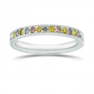 Milgrain Multicolored Diamond Stackable Milgrain Band Ring, SKU 25539R (0.25Ct TW)