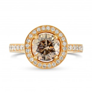 Rose Gold Fancy Brown Round Brilliant Diamond Milgrain Halo Ring, SKU 25544R (1.35Ct TW)