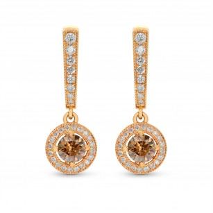 Rose Gold Fancy Brown Round Diamond Milgrain Drop Halo Earrings, SKU 25547R (1.30Ct TW)
