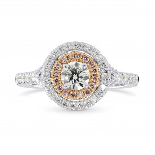 Round White and Pink Diamond Double Halo Ring, SKU 25552R (0.87Ct TW)