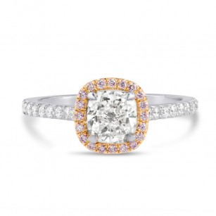 Platinum Colorless Cushion and Pink Diamond Halo Ring, SKU 25577R (1.33Ct TW)