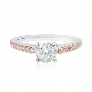 Round White and Pink Diamond Pave Engagement Ring, SKU 25581R (0.70Ct TW)