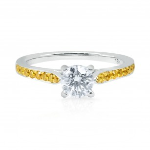 Round White and Fancy Intense Yellow Diamond Pave Engagement Ring, SKU 25584R (0.70Ct TW)