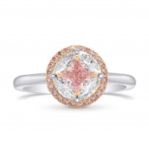 Fancy Intense Pink Princess Diamond Ring, SKU 257927 (0.88Ct TW)