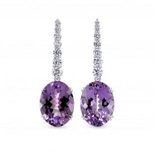Amethyst & Diamond Oval Drop Earrings, SKU 258043 (17.87Ct TW)