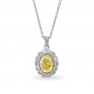Fancy Yellow Oval Diamond Drop Halo Pendant, SKU 26744R (1.30Ct TW)