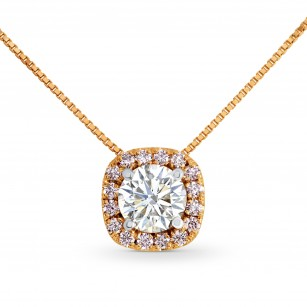 White and Pink Diamond Cushion Halo Pendant, SKU 26008R (0.60Ct TW)