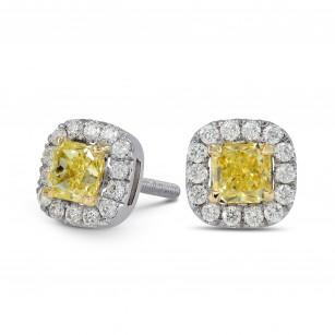 Fancy Intense Yellow Cushion Diamond Halo Earrings, SKU 26137R (0.80Ct TW)