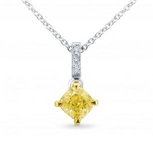 Fancy Intense Yellow Cushion Diamond Drop Pendant, SKU 25510R (0.72Ct TW)