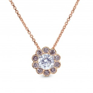 White and Pink Diamond Floral Halo Pendant, SKU 26212R (0.75Ct TW)