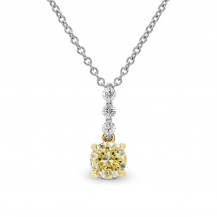 Fancy Yellow Round Diamond Pendant, SKU 26224R (0.47Ct TW)