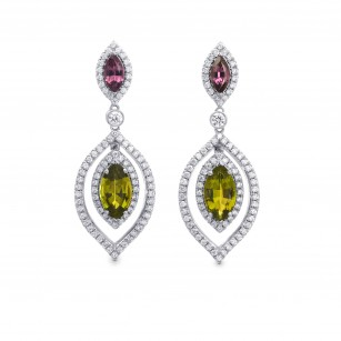 Tsavorite, Tourmaline & Diamond Drop Earrings, SKU 262817 (4.68Ct TW)