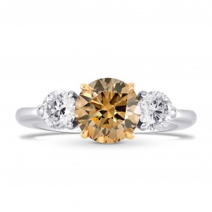 Champagne and White Round Diamond 3 Stone Ring, SKU 26331R (1.70Ct TW)