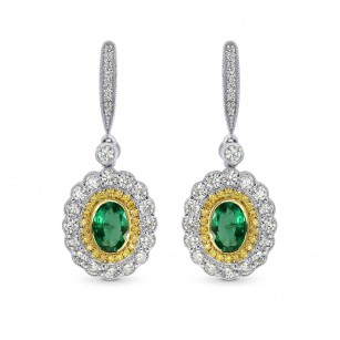 Vivid Green Emerald and Fancy Intense Yellow Diamond Drop Earrings, SKU 26353R (1.42Ct TW)